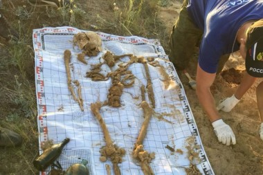 Останки первого бойца,  обнаруженного отрядом  в этом году