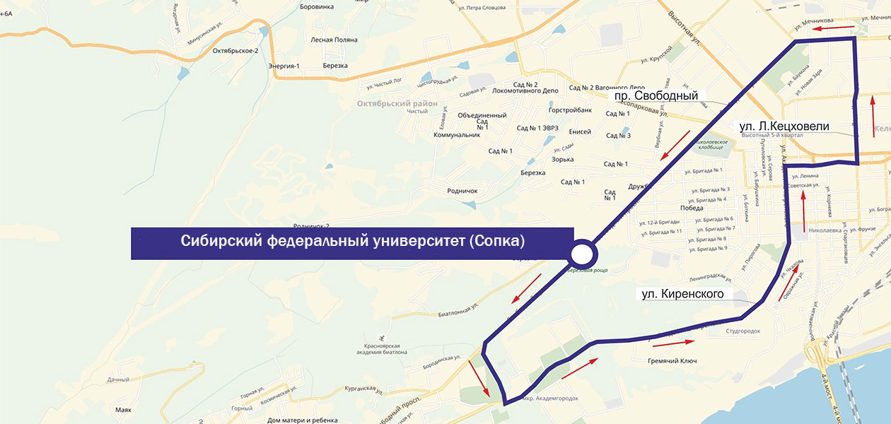 Схема движения маршрута 35А